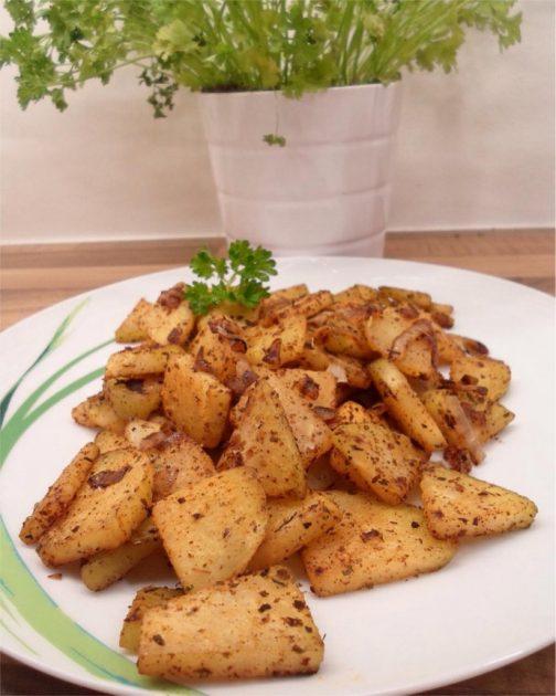 Low Carb Kohlrabi Bratkartoffeln mit Kräutern