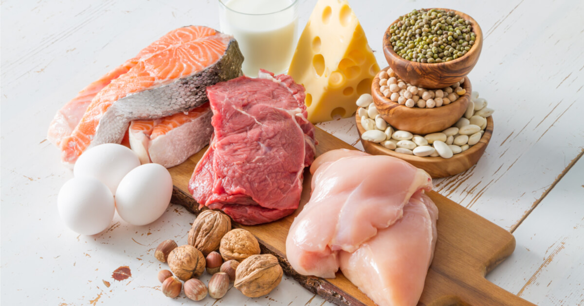 Fleisch, Eier, Fisch, Käse, Milch und Hülsenfrüchte