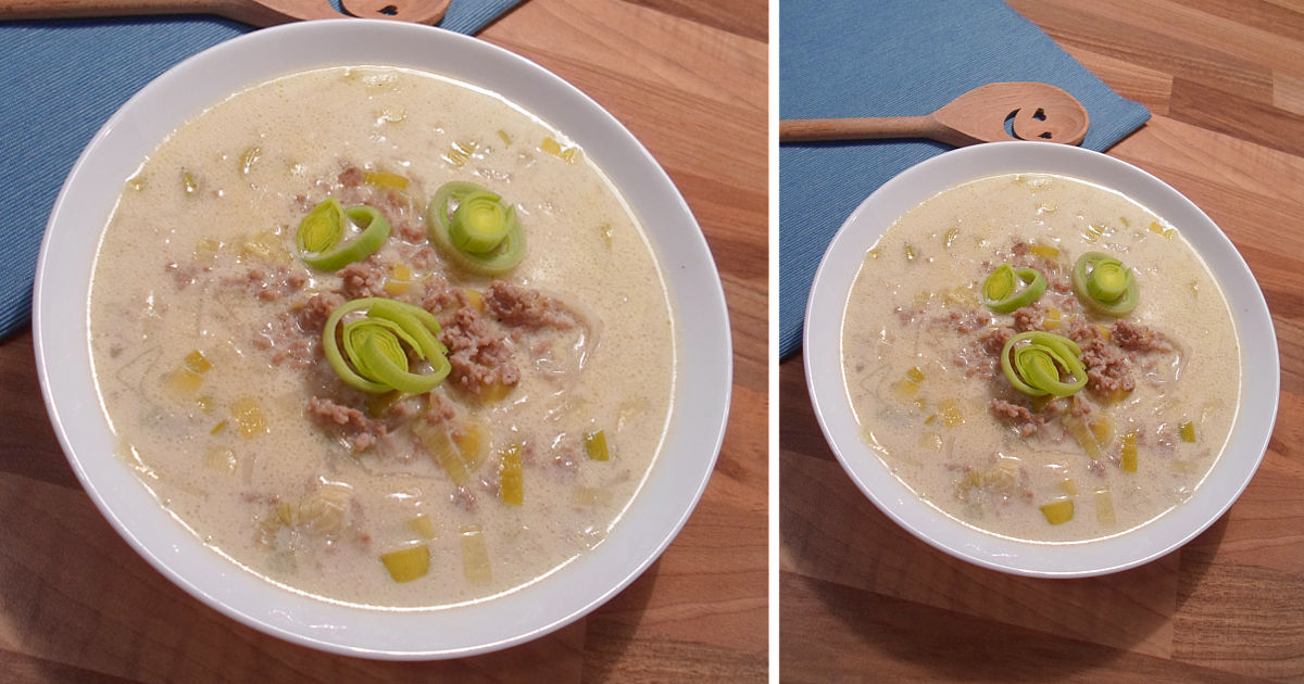 Low Carb Käse Lauch Suppe mit Hackfleisch - traumhaftes Rezept