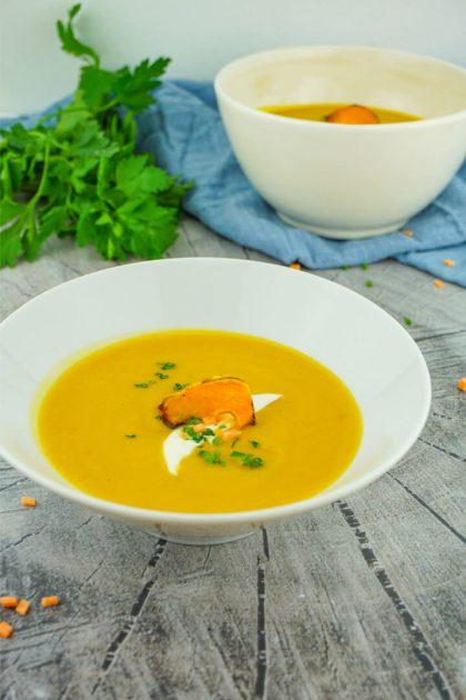 Süßkartoffel Suppe mit Linsen - Gesundes Rezept