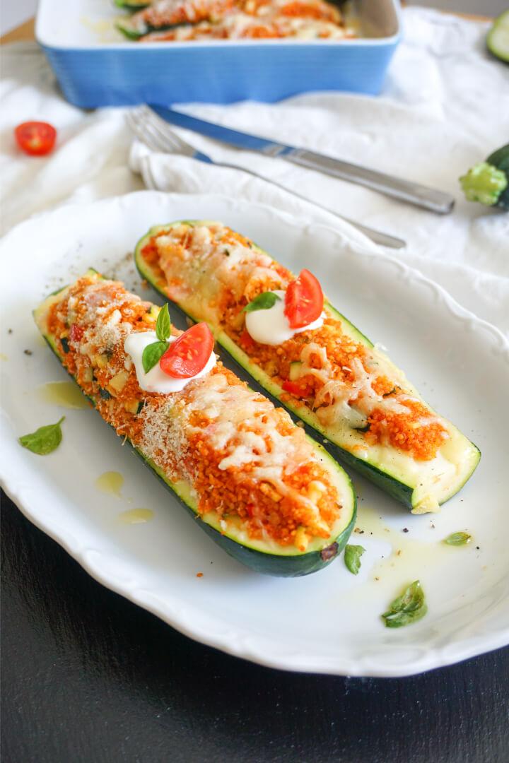 Gefüllte Zucchini vegetarisch - Fitness Rezept