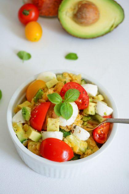 Linsensalat mit Mozzarella