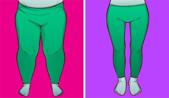 Gehen Sie schlank über fette Oberschenkel