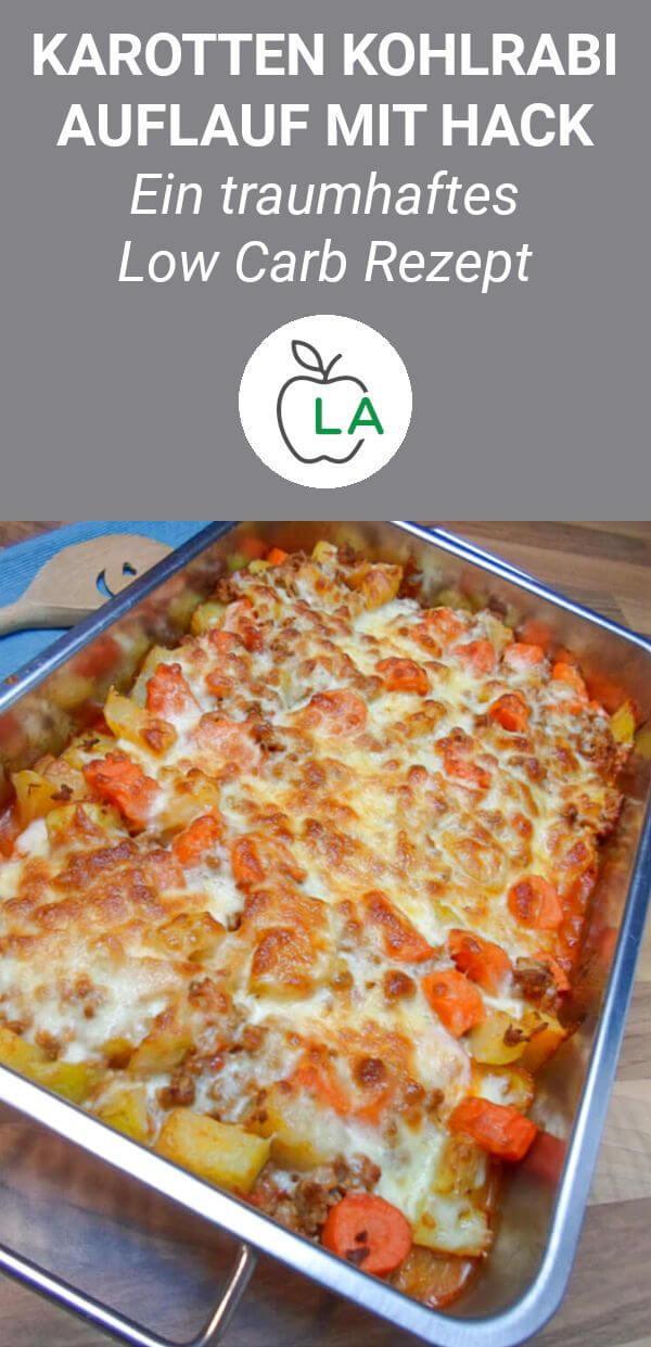 Low Carb Hackfleisch Auflauf mit Kohlrabi und Karotten