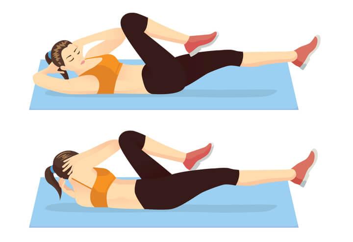 Bicycle Crunches für die seitlichen Bauchmuskeln