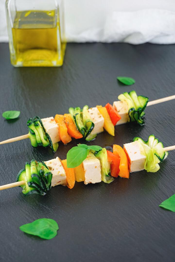 Gemüse-Käse-Spieße vegetarisch