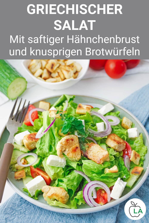Griechischer Salat mit Brotwürfeln