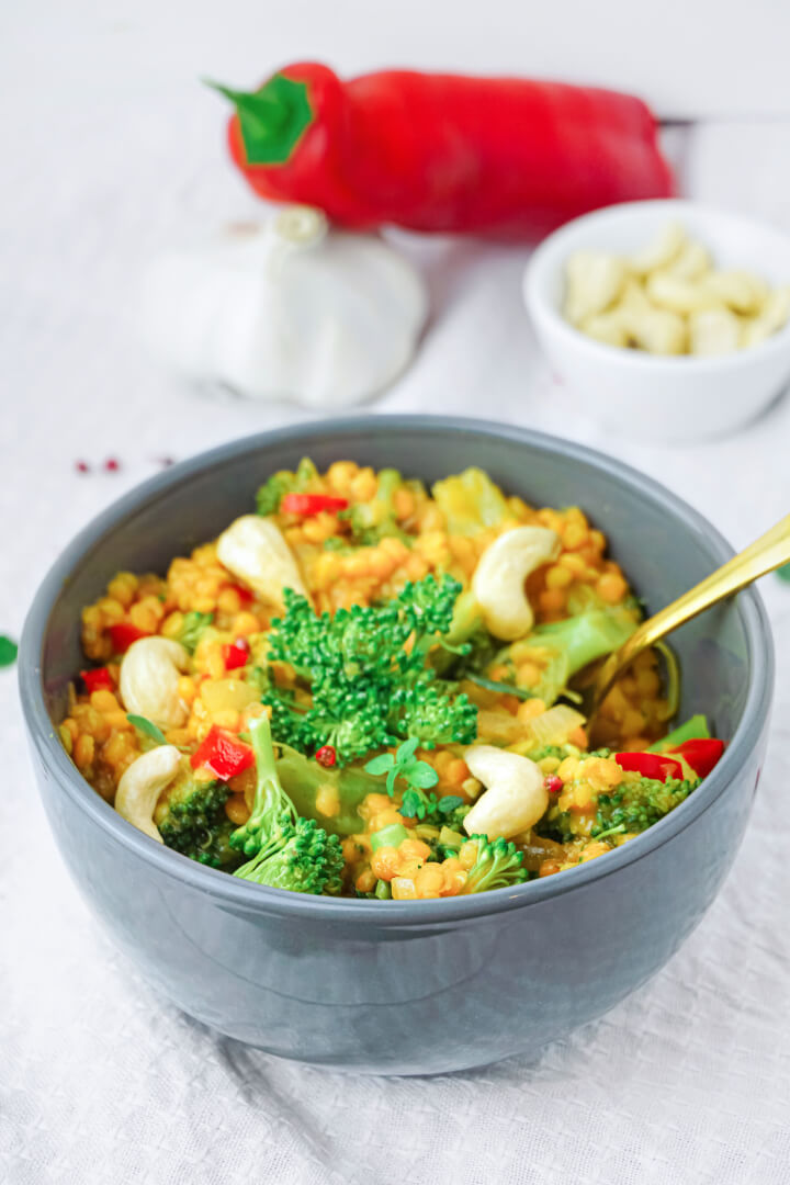 Linsen Curry mit Brokkoli