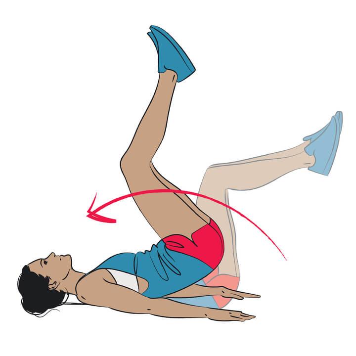 Reverse Crunches für den unteren Bauch