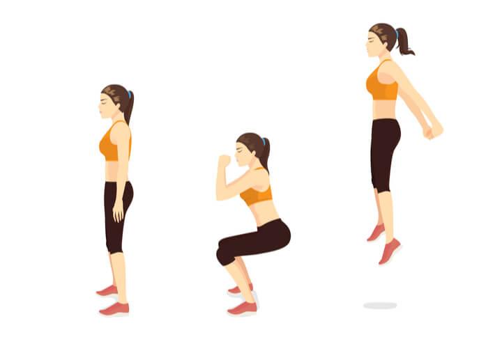 Kniebeugen mit Sprung im Morgen Workout