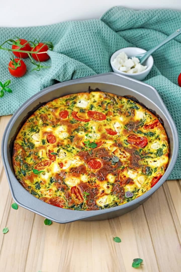 Low Carb Quiche mit Spinat und Feta