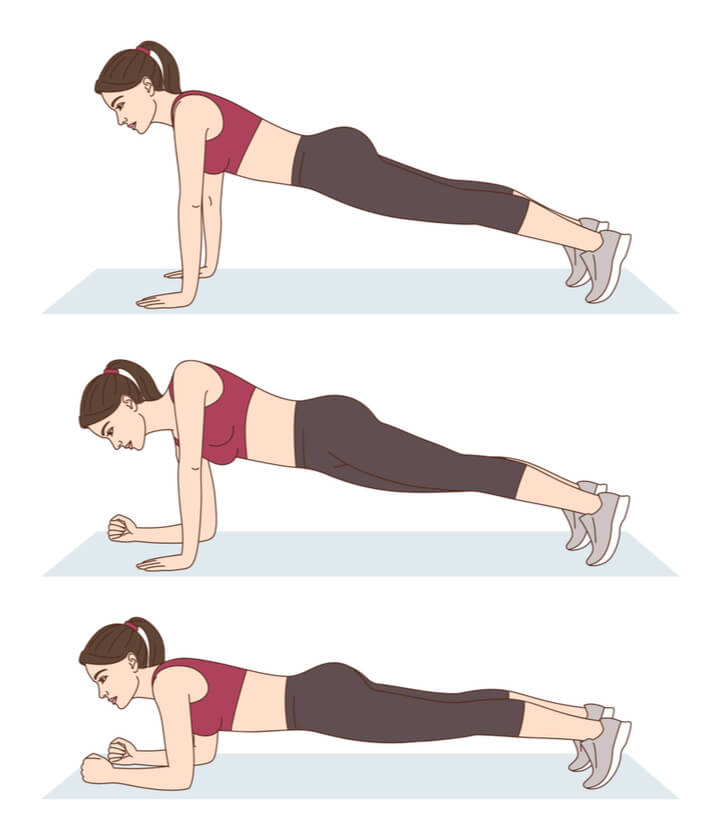 Planks im Training am Morgen