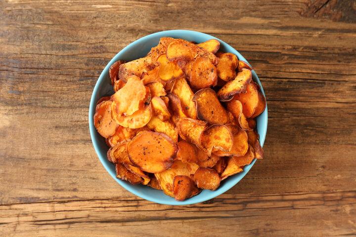 Süßkartoffel Chips als Snack zum Abnehmen