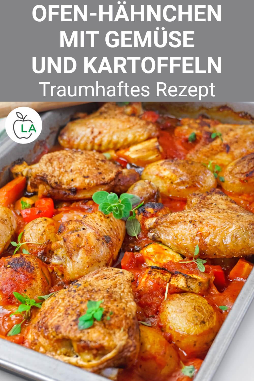 Hähnchen mit Gemüse und Kartoffeln aus dem Ofen