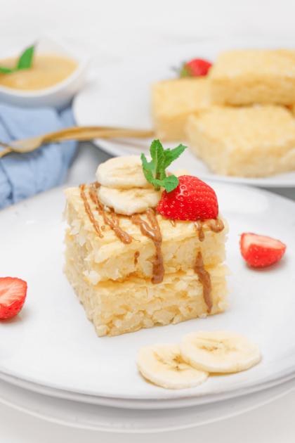 Milchreisschnitten mit Obst für Kinder und Sportler